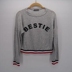 Papaya BESTIE Print Gray Pullover Sweater Size M
